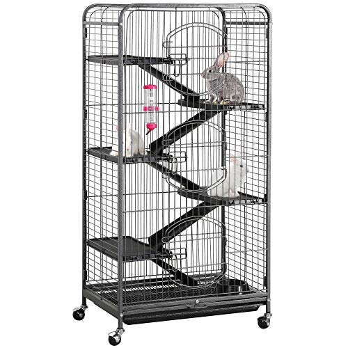 Yaheetech 52 6 Level Metal Rabbit Cage with 3 Front Doors/Feeder/Wheels Small Animal Cage Hutch for Ferret Bunny Indoor Outdoor,Black