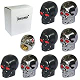 Xmomx Skull Style Shape Tires Valve Stem Caps Antirust Copper Core for Motorcycle Bike Car, 4 PCs Black and 4 PCs Silver (Total 8 PCs)