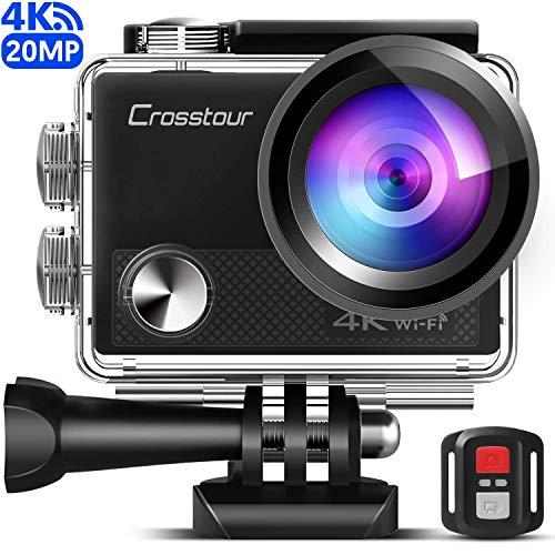 Crosstour CT9000 Action Cam Webcam Upgraded 4K 20MP WiFi con Telecomando e LDC Action Camera Subacquea 40M e Kit di Accessori