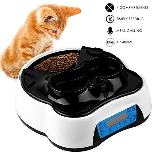 pedy 2 in 1 Futterautomat Katze, Hund Automatischer Futterspender Pet Feeder mit Timer, LCD Bildschirm und Ton-Aufnahmefunktion bis zu 4 Mahlzeit Tabletts für trockene und nasse Nahrung, 1.6 Liter