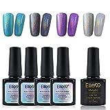 Elite99 Holographic Rainbow Nail Polish Set with Soak Off UV LED Metallic Top Coat Gel Polish Nail Art Decoration Manicure 5PCS (C001)