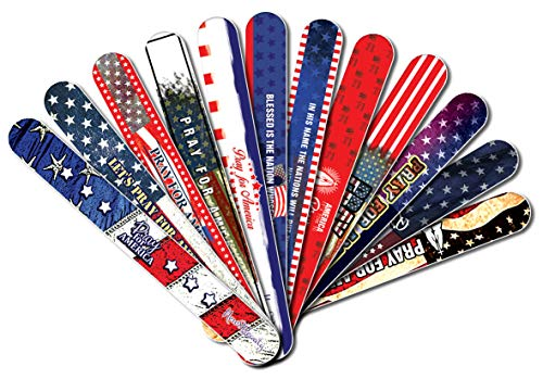Christian Emery Board - Pray for America (12-Pack) Nail Files - Manicure Pedicure - Stocking Stuffers Premium Quality Gift Ideas for Women Mom Teens Girls Thanksgiving Christmas