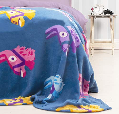 Character World Fortnite Llama - Manta (Forro Polar), diseño de piñata de Llama, Color Morado