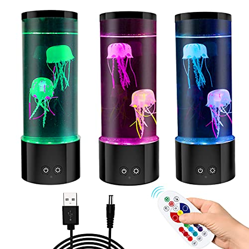 Jellyfish Lava Lamp, Electric Aquarium Mood Light with Monochrome Lights Color, Changing Lights, Timer,Gifts for Kids Men Women Dad Mom Desk Decor Night Light for Christmas Thanks Giving Birthday