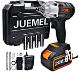 JUEMEL 20V Cordless Impact Wrench 1/2 inch,1/4' Hexagonal Chuck Electric Screwdriver Cordless Drill 3 in 1 Multifunctional Power Tool Kit. High Torque 2 Speed Impact Driver Set