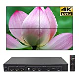 2x2 4K Video Wall Controller,4K TV Wall Processor with 3840x2160@60HZ Input,HDMI 1 by 4 high Definition Image Processor Support 180 Degree Rotate 1x2 1x3 1x4 2x1