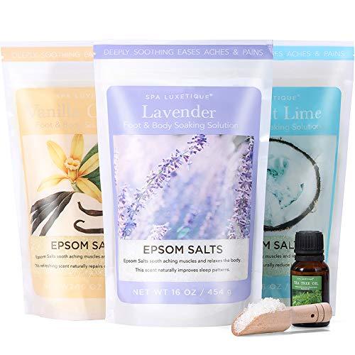 Spa Luxetique Epsom Salt Bath, Epsom Salts for Soaking, Bath Salts for Women Relaxing, Rich in Tea Tree Oil for Foot Spa Soak, Bath Salt Moisturize Skin, Relieve Stress. 3pack, 16oz Each.