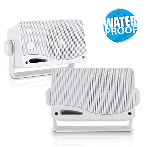 3-Way Weatherproof Outdoor Speaker Set - 3.5 Inch 200W Pair of...