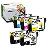 Kingjet Remanufactured Replacements for 220XL, 220, T220XL, T220 Ink Cartridge Work with Workforce WF-2630, WF-2650, WF-2660, WF-2750, WF-2760; Expression Home XP-320, XP-420, XP-424 -(5 Pack)