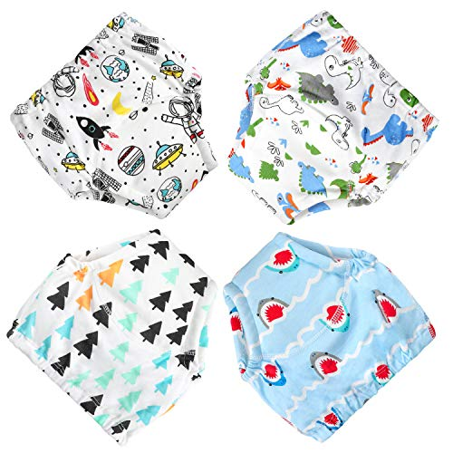 CottonTraining Pants 4 Pack Padded Toddler Potty Training Underwear for Boys-2T