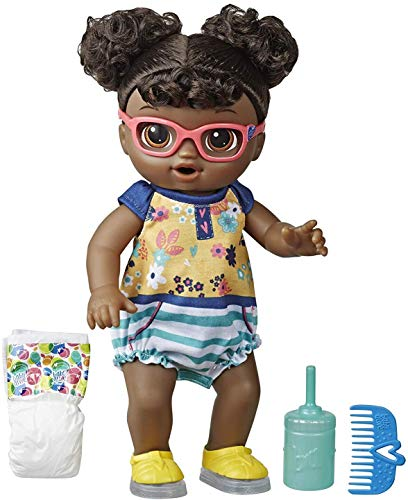 Baby Alive Step N Giggle Baby Black Hair Doll with Light-Up Shoes, Responds with 25+ Sounds & Phrases, Drinks & Wets, Toy for Kids Ages 3 Years Old & Up