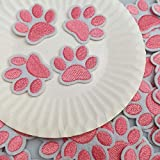 1.6'x1.3' 20pcs Dog Paw Puppy Pink Paw Iron On Embroidered Patches Appliques Machine Embroidery Needlecraft Sewing Clothes