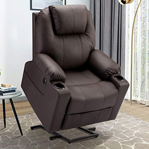 Esright Electric Power Recliner Lift Chair Faux Leather Electric Recliner for Elderly, Heated Vibration Massage Sofa with Side Pockets, USB Charge Port, Cup Holder & Massage Remote Control, Dark Brown
