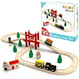 Wooden Train Set - 39 Pcs Starter Track & Train Pack Compatible with Thomas, Chuggington, Melissa and Doug Wooden Railway