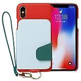<iPhoneX>RAKUNI(ラクニ)本革 背面フリップケース(スカーレットスカイ)/財布一体/カードケース/便利な前面むきだし/ストラップ付き/スタンド機能