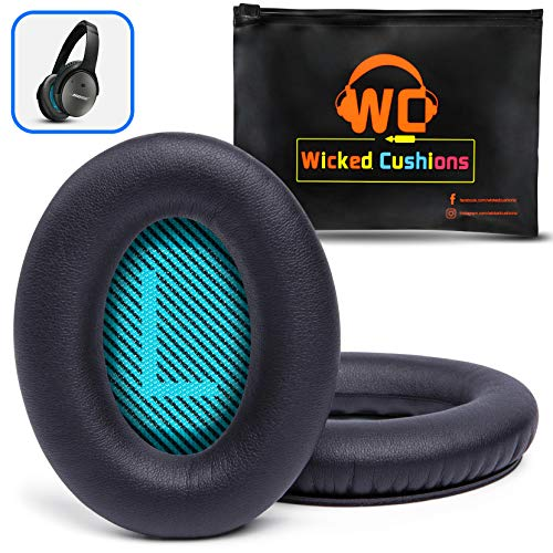 WC Premium Replacement Ear Pads for Bose Headphones Made by Wicked Cushions - Cloud Like Comfort - Compatible with QC15 / QC25 / QC2 / AE2 / AE2i / AE2W - Longer Lasting Durability (Blue L+R Screen).