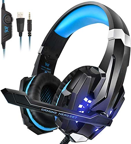 Kotion Each: Over The Ear Wired Headsets With Mic & Led - G9000 Edition For Pc/ Ipad/ Iphone/ Tablets/ Mobile Phones (Black/Blue)