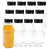 Aneco 12 Pack 8 Oz Empty Plastic Juice Bottles Reusable Square Drink Containers with Lids for Storing Homemade Beverages (Black lid)