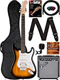 Fender Squier Stratocaster Pack - Sunburst Bundle with Frontman 10G Amplifier, Gig Bag, Instrument Cable, Tuner, Strap, Picks, Fender Play Online Lessons, Instructional Book, and Instructional DVD
