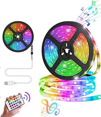 LED-Strip, 5M USB LED Streifen Leicht zu tragen Lichtband mit 24 Tasten Fernbedienung 4 Modi dimmbar LED TV Hintergrundbeleuchtung für Zuhause,Im Freien, Auto, Schlafzimmer, TV, [Energieklasse A+]