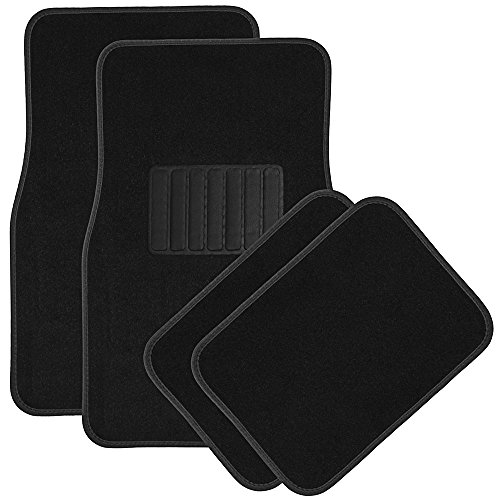 OxGord Luxe Carpet-Floor-Mats Set for Car - Rubber-Lined All-Weather Heavy-Duty Protection for All Vehicles - 4 Piece, Black