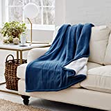 Eddie Bauer | Smart Heated Electric Throw Blanket - Reversible Sherpa - Hands Free Control -Wi-Fi Only (2.4GHz) - Compatible with Alexa, Google, iOS, Android - Indigo