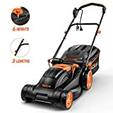 TACKLIFE Lawn Mower, 14-Inch, 10 Amp Electric Lawn Mower, 6 Central Adjustable Heights (0.98''-2.95''), 3 Adjustable Handle Length, Easy Control, Tool-Free Installation, 10.5Gal Grass Box – KALM12A