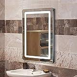 Miroir de Salle de Bain, Miroir Lumineux LED avec Bouton Tactile, pour la Maison, Salle de Bain, Hôtel, Salon de Beauté 700x500x40mm