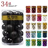 KI Store 34ct Christmas Ball Ornaments 1.57-Inch Small Black Shatterproof Christmas Tree Balls Decorations for Xmas Halloween Decoration Tree Ornaments Hooks Included 40mm