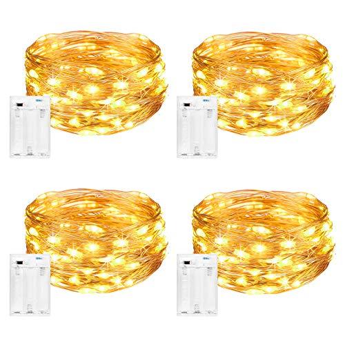 Litogo Stringa Luci LED a Batteria [4 Pezzi], Catena Luminosa 5m 50 LED con Filo Rame Ghirlanda...
