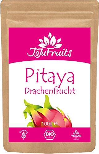 JoJu Fruits - Drachenfrucht Pulver Bio (100g) - (Vegan, Glutenfrei, Laktosefrei) Superfood aus Pitaya (Pitahaya)