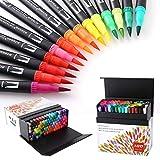 Stylos à brosse à double pointe à 100 couleurs avec bordure fine Tip 0.4 et Pinceau pour livres à colorier, dessins, peintures, calligraphies Bullet Journal HO-100B
