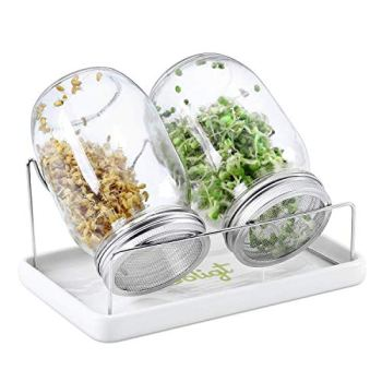 Complete Mason Jar Sprouting Kit - 2 Wide Mouth Quart Sprouting Jars with 316 Stainless Steel Sprouting Lids, Ceramic Drip Tray and Stand