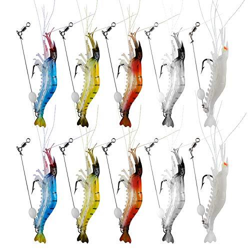 WANBY Luminoso Silicone Morbido Esche per Gamberetti Set di Esche Esche da Pesca Swimbait con Gancio Attrezzatura da Pesca per Acqua Dolce (10 Pezzi)