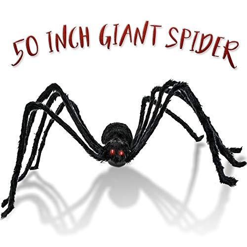 THE TWIDDLERS Araña Gigante de 50 Pulgadas - Ideal para decoración de Halloween - Se Mueve y Suena Celebrar Halloween