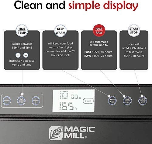 Product Image 1: Magic Mill Food Dehydrator Machine - Digital Adjustable Timer   Temperature Control   Keep Warm Function   Dryer for Jerky, Herb, Meat, Beef, Fruit and To Dry Vegetables   10 Stainless Steel trays