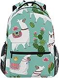 Mochila Escolar Informal Ilustraciones de Llama Cactus Mochila de Viaje Ligera Mochila universitaria para Mujeres, niñas y Adolescentes