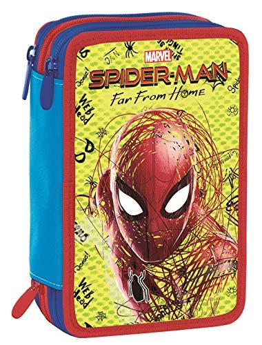 Astuccio 3 Zip Marvel Spider-Man, Rosso, Con materiale scolastico: 18 pennarelli e 18 pastelli...