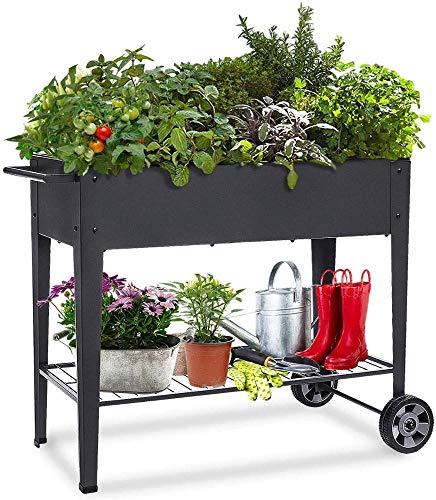 Khomo Gear - Carrello zincato alto per coltivazione orto urbano in casa, ideale per piante, frutta, verdure, per terrazza, giardino, interno esterno, colore nero