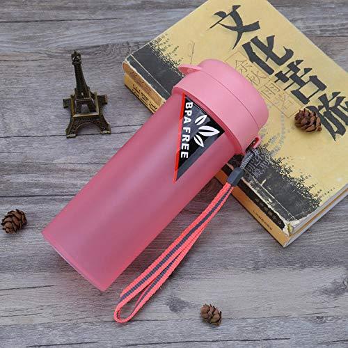 HUANDATONG Portatile Bottiglia Sport Borraccia Nuova Tazza di Plastica Creativa A Tenuta Stagna Bollitore-Pink_500Ml Sigillato