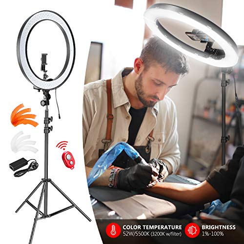 Neewer Upgraded 18-inch Outer Dimmable SMD LED Ring Light with 79-inch Stand, Bluetooth Receiver, Rotatable Phone Holder for Smartphone/Camera Make up YouTube Video Shooting (EU/US Plug, No Carry Bag)