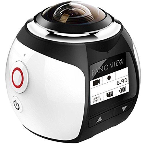 【二個電池付き】OVTECH 3D.VR 4k ビデオカメラ 360度カメラ 30メートル防水 フルHD水中撮影 アクション スポーツカメラ Wifi 自転車カメラ 日本語の説明書付き(シルバー)