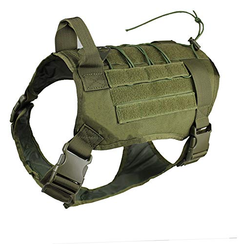 zuoxiangru Tactical Service Dog K9 Working Dog Vest Outdoor Training Hunting Water-Resistant Military Patrol Dog Harness with Handle (XL, Army Green)