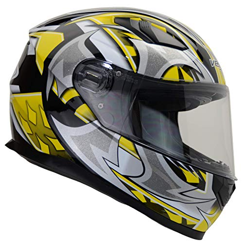 Vega Helmets 6115-164 Ultra Full Face Helmet for Men & Women (Yellow Shuriken Graphic, Large) 1 pack