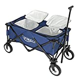 VINGLI 80 Quart Ice Chest Wagon on Wheels Cooler Trolley, Portable Patio Party Bar Drink Cooler Cart Wagon,Beverage Pool with Bottle Opener(Blue)