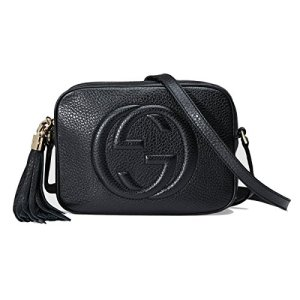 Gucci Women's Soho Small Leather Embossed Disco Crossbody Handbag Black 40