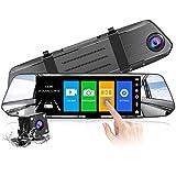 【2020 Nuova Versione】CHORTAU Telecamera per Auto da 7 pollici Touchscreen Full HD 1080P, Telecamera Grandangolare Anteriore e Telecamera Posteriore impermeabile, con Sistema di Monitoraggio Inverso