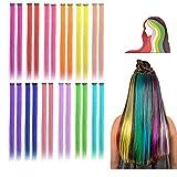 24 extensiones de colores con clip para nias, extensiones de pelo largo arco iris, multicolor para...