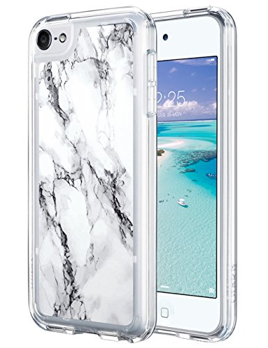 ULAK iPod Touch 7 Case, iPod Touch 6 Case Marble, Slim Anti-Scratch Clear Case with Shockproof Bumper, Hybrid Protective Cases for Apple iPod Touch 7th/6th/5th Generation, Marble Pattern