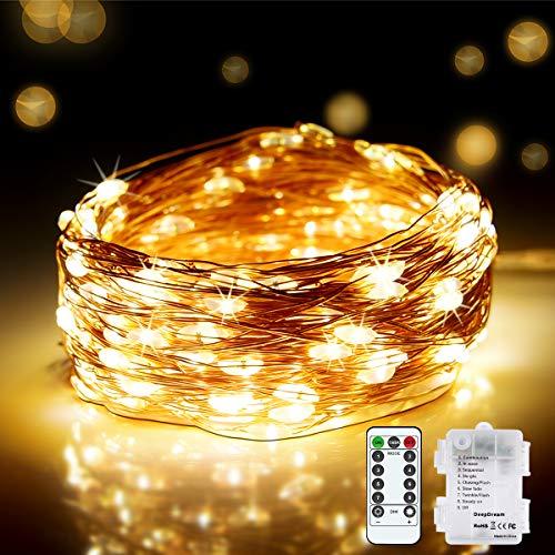 DeepDream Stringa Luci LED Batteria,20M 200LED Catena Luminosa Filo Rame Ghirlanda Luminosa Impermeabile Interni e Esterni per Natale Giardino Casa Feste Matrimonio (Bianco Caldo)